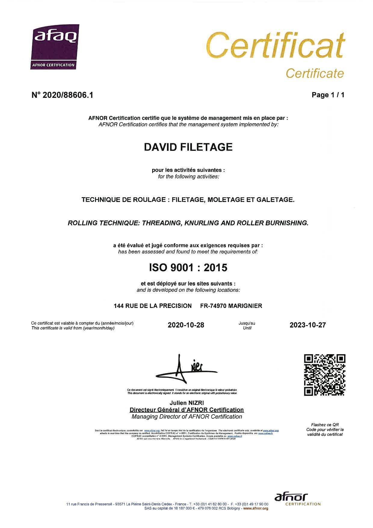 David Filetage - certification iso 9001